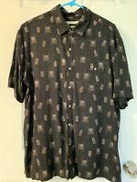 Batik Bay Men's Black Palm Trees/Pineapple Button-down Hawaiian Shirt. Size XL