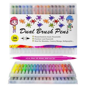 Aquarellstifte Dual Brush Pen 36 Farben Set Filzstifte Pinselstifte Fasermaler