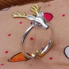 Lucky Deer Head Shape Ring Opening Adjustable Personality Animal Antler Ring New