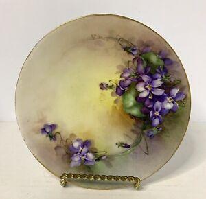 "Porcelain Favorite Bavaria Hand Painted Small Plate 6"" Diameter Violets"