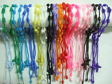 60pcs HandCraft Mixed Colors Knotted Rosary Cross Bracelets Decenarios