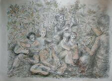 Lucien Philippe MORETTI- Lithographie signée-Sac de billes : chanson