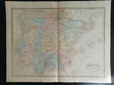 Carte ESPAGNE et PORTUGAL   Atlas Achille MEISSAS et A MICHELOT 1869  44x57cm