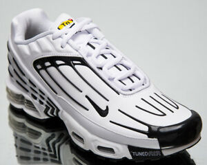 Nike Air Max Plus III Leather Men's White Black Athletic Lifestyle Sneakers Shoe