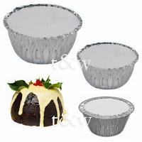 Foil Pudding Round Dishes Lids Suet Christmas Xmas Disposable Basins 1LB 2LB