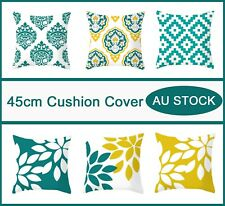 Geometric Flower Leaves Cushion Cover Teal Yellow Sofa Bed Pillow Cover 45x45cm