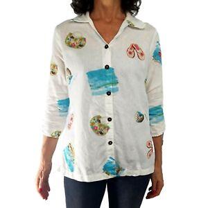 HOT COTTON Sm White Beach Blouse Shirt Tropical Linen Blend Button ¾ Tie Sleeves