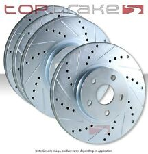 FRONT + REAR SET Performance Cross Drilled Slotted Brake Disc Rotors TBS19038