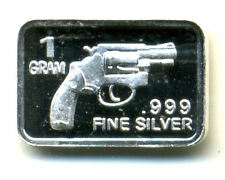 GUN Revolver .999 PURE DMPL SILVER PROOF GEM BU BULLION 1 GRAM 999 Fine BAR#146