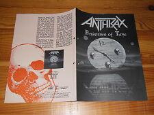 ANTHRAX - PERSISTENCE OF TIME / ARIOLA PROMO-HEFT (DINA-4) 1990