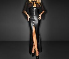Latex Faux Look Long Maxi Dress Very Low Front See Through Cape Thigh Slits