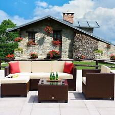 6PC Rattan Wicker Sofa Set Sectional Couch Outdoor Patio Furniture w/ Cushions