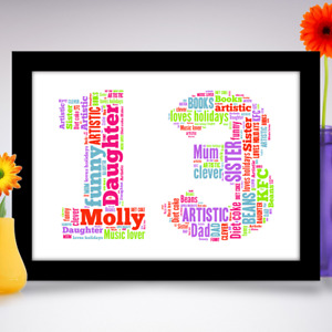 Personalised Birthday gift for a child BOY GIRL Son Daughter A4 Word Art Print