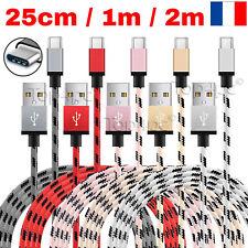 CABLE USB TYPE-C CHARGEUR POUR SAMSUNG GALAXY S8 S9+ NOTE 8 RENFORCE 25CM 1M 2M
