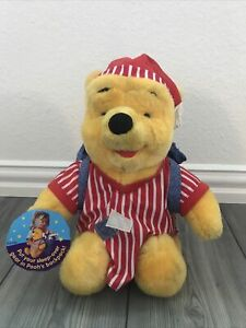 """12"""" Winnie The Pooh Sleepover Bear Lovey W/Backpack And Pajamas On Mattel 1998"""