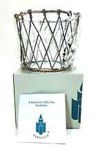 Partylite Vintage P7048 Large Metal Basket Jar Candle Holder With Original Box