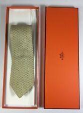 HERMES TIE 5325TA Chain d'Ancre Striped on Creme Classic Silk Necktie New in box
