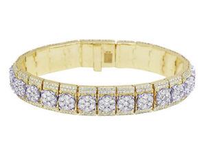 "10k Yellow/White Gold 3D Cluster Prong Set Real Diamond Bracelet 14MM 8"" 20.75CT"