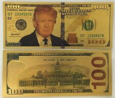 President Donald Trump .999 24k Gold Plated US $100 & $1000 Dollar Bill Combo
