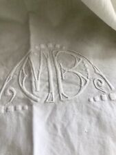 Art déco LONG French LINEN COTTON sheet OPENWORKS MB mono TORN UPHOLSTERY c1930