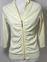 Elle Zip Up Long Sleeve Size 12 Lemon Yellow Sports Top Jacket Ruched Front