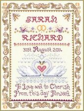 Swans Wedding Sampler - complete cross stitch kit on 14 aida with COLOUR chart