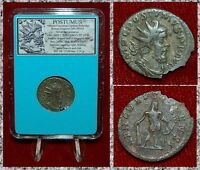 Ancient Roman Empire Coin POSTUMUS Hercules On Reverse Silvered Antoninianus