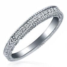 Millgrain Edge Antique 0.30 Carat F-VS Diamond Wedding Band Ring 14k White Gold