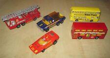 5 VINTAGE Matchbox Lesney Dinky Die-Cast Toys - Fire Truck Team Honda Buses NICE