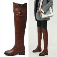 Womens Outdoor Chunky Heel Round Toe Over The Knee High Riding Boots plus sz