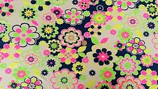 Viscose Lycra jersey fabric Material - Bright Fluorescent Floral print