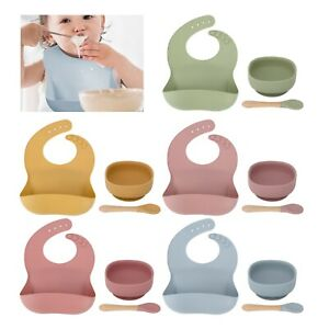 Silicone Plates Feeding Weaning Bib Baby Suction Bowl with Bamboo Spoon Fork Set