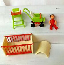 vintage Bruder Germany Plastic Miniature Dollhouse nursery furniture w baby #2