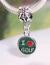I Heart Golf Love Golfer Gift Green Red Dangle Bead for European Charm Bracelets