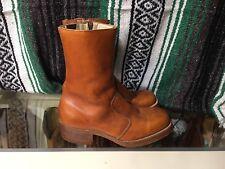 FRYE Vintage Brown Leather Side Zip Western / Motorcycle Boots Men's Size 8