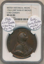1766 British Historical Medal. Lord Camden. NGC MS64 Brown
