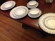 Spode Fleur De Lys Grey Platinum Y7515 Cream Soup Bowl Dinner Salad Plate Set 12