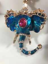 Betsey Johnson Necklace ELEPHANT BLUE GOLD CRYSTALS AFRICA SAFARI Gift Box