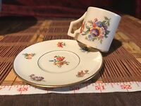 Porcelain Demitasse Cup and Saucer w/ GOLD Trim Multi-Floral Design Marked