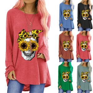 Women Skull Sunflower Floral Long Sleeve T-Shirt Halloween Tunic Blouse Pullover