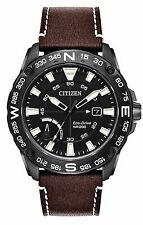 BRAND NEW CITIZEN ECO-DRIVE PRT BLACK DIAL BROWN LEATHER AW7045-09E NEW IN BOX!