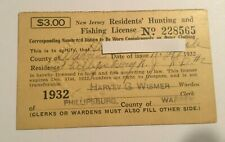 1932 Vintage New Jersey  Resident Hunting & Fishing License
