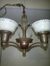 "Antique Slip Shade Art Deco Ceiling Lamp Gorgeous 13"" Wide - 13"" Tall"