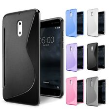 S Curve Soft Gel TPU Case Cover For Nokia 3 5 6 8 + Screen Protector