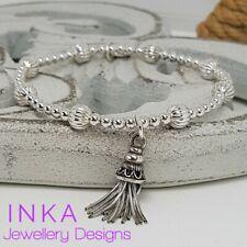 Inka 925 Sterling Silver Textured beaded Stacking Bracelet Tassel charm