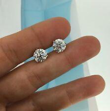 Diamond Stud Earrings 14k White Gold 4 Carat D Vs2 Round 100% Eye Clean Enhanced