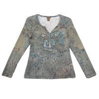 Wrangler Notched V Henley Tee T Shirt Womens L Large Embellished Long Sleeve