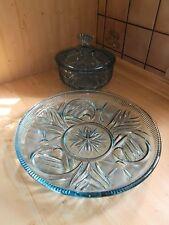40er/50er Jahre Glasdose/Deckeldose Blau mit passender Anbietschale Top Zustand