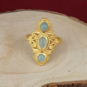 Yellow Gold Plated 925 Silver Aqua Chalcedony Bohemian Design Ring Jewelry
