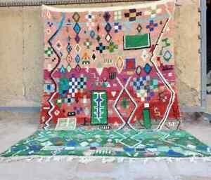 Colorful Vintage Runner Rug Boujad Moroccan wool Handmade Carpet 9.77x 6.43 Ft